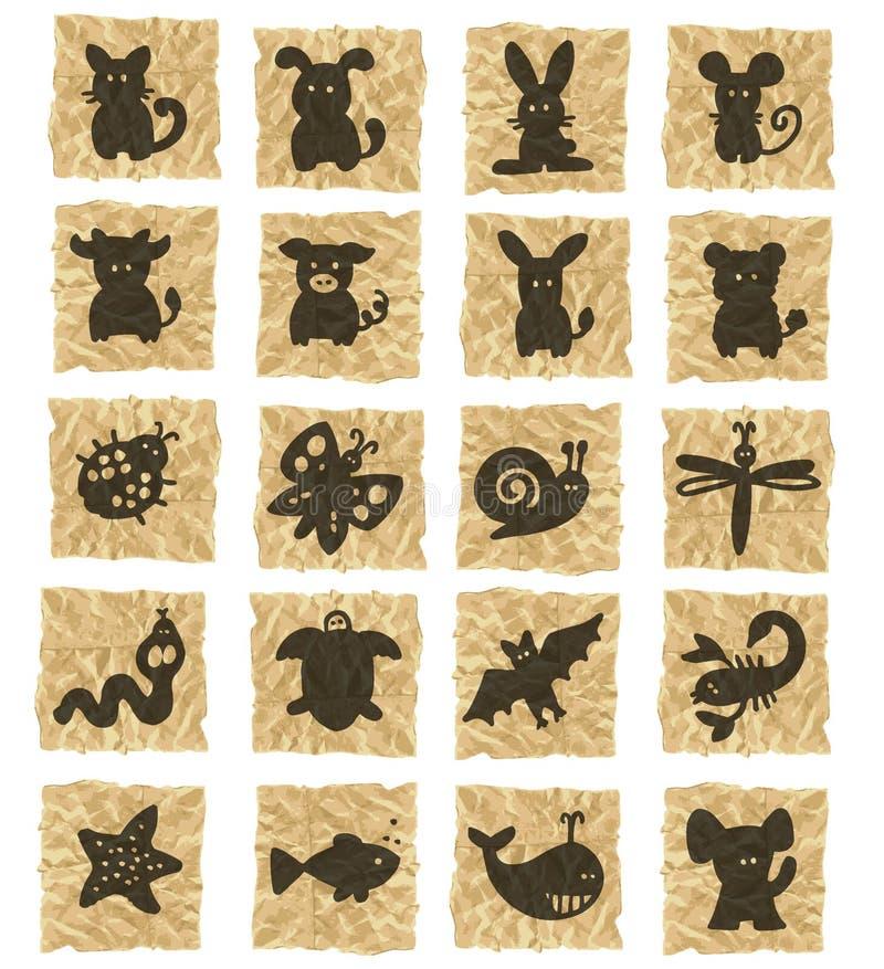 Download Icone Su Documento Sgualcito Illustrazione di Stock - Illustrazione di brown, bianco: 3140314