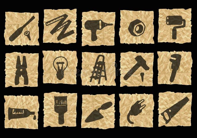 Download Icone Su Documento Sgualcito Illustrazione di Stock - Illustrazione di icone, stile: 3140456