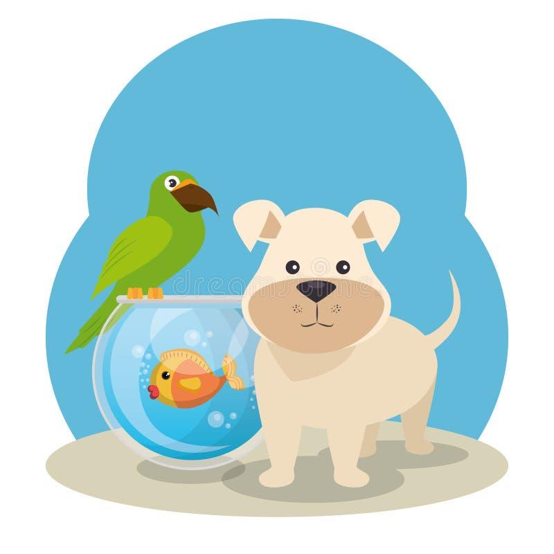 Icone sveglie del negozio di animali delle mascotte illustrazione di stock