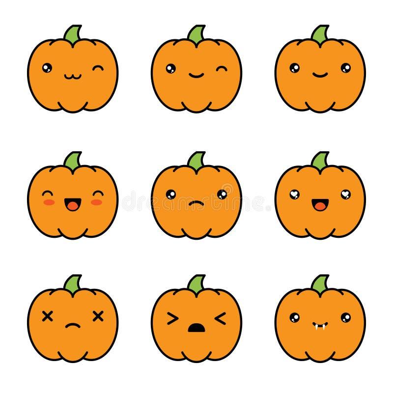 Icone sveglie della zucca di kawaii di Halloween isolate su fondo bianco royalty illustrazione gratis