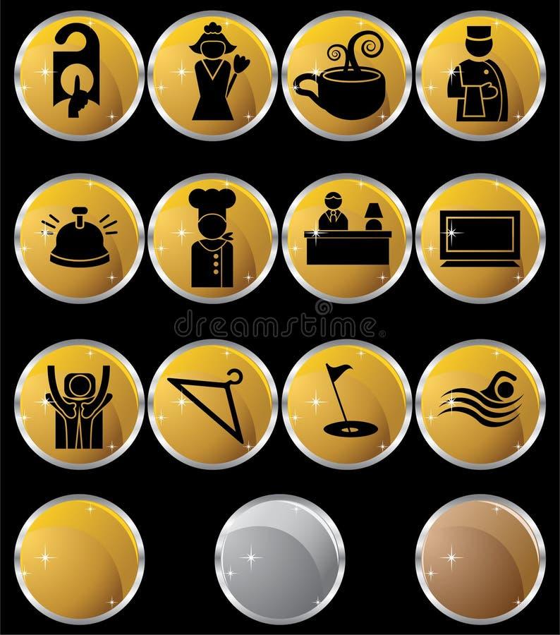 Icone/tasti dell'hotel - rotondi - oro illustrazione di stock