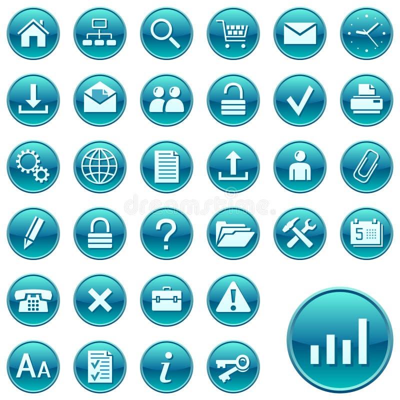 Icone/tasti rotondi di Web illustrazione vettoriale
