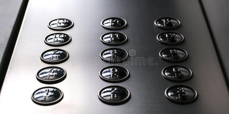 Icone tattili della cifra per il cieco Bottoni dell'elevatore Primo piano del fuoco selettivo immagini stock