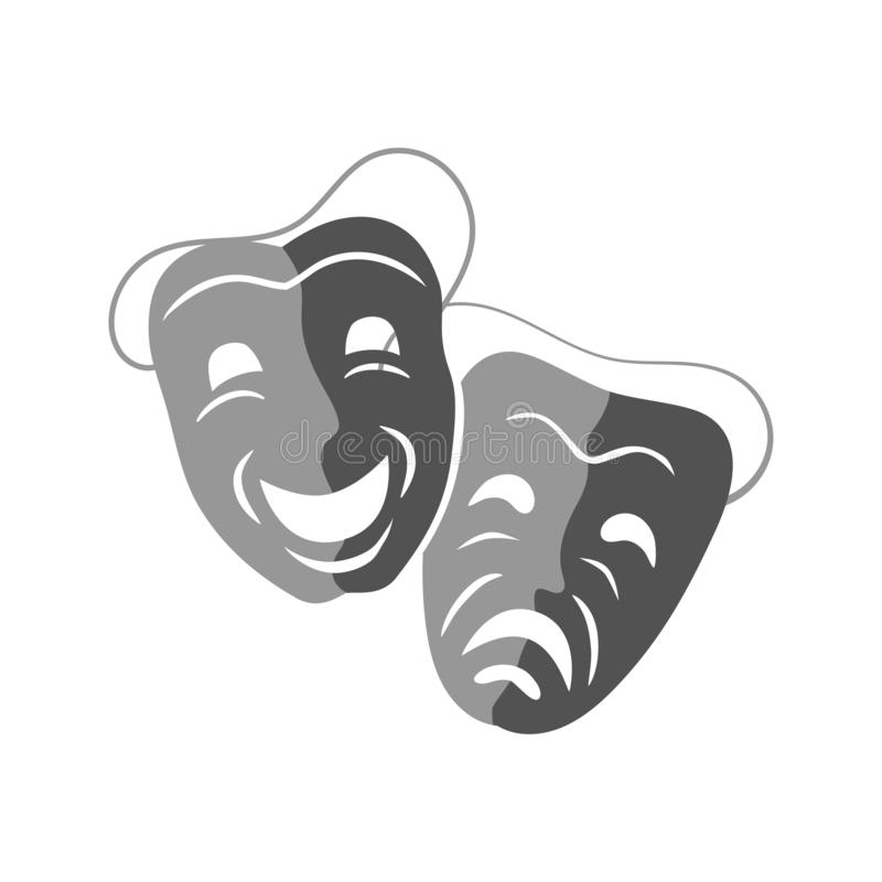 Icone teatrali delle maschere di tragedia e della commedia, illustrazione di vettore illustrazione vettoriale