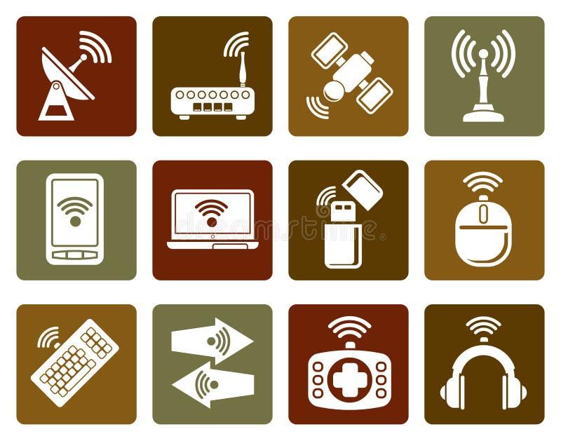 Icone tecnologia della comunicazione e pianamente senza fili illustrazione vettoriale