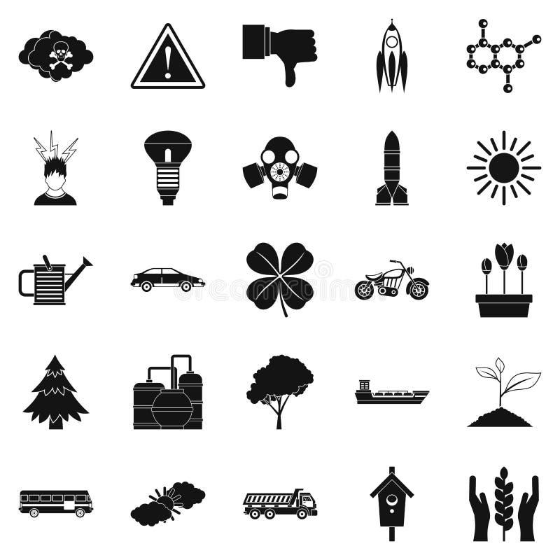 Icone termiche messe, stile semplice illustrazione di stock