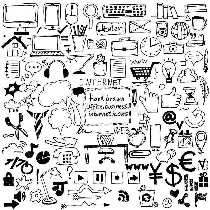 icone tirate di schizzo per l'affare, Internet e l'ufficio Vettore illustrazione di stock