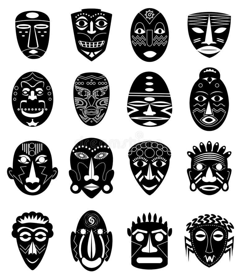 Icone tribali africane delle maschere messe illustrazione vettoriale