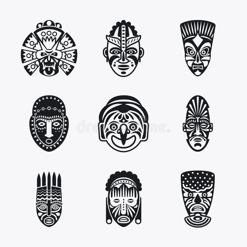 Icone tribali e etniche della maschera illustrazione vettoriale