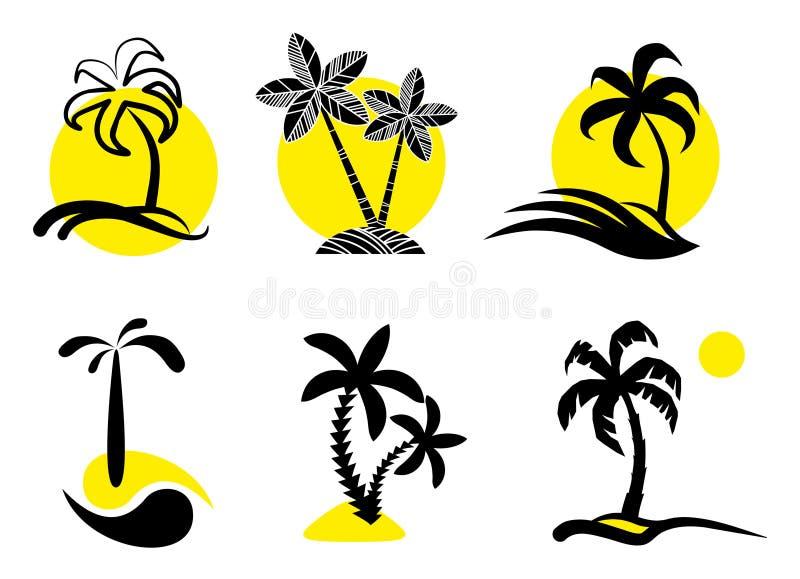 Icone tropicali. illustrazione vettoriale