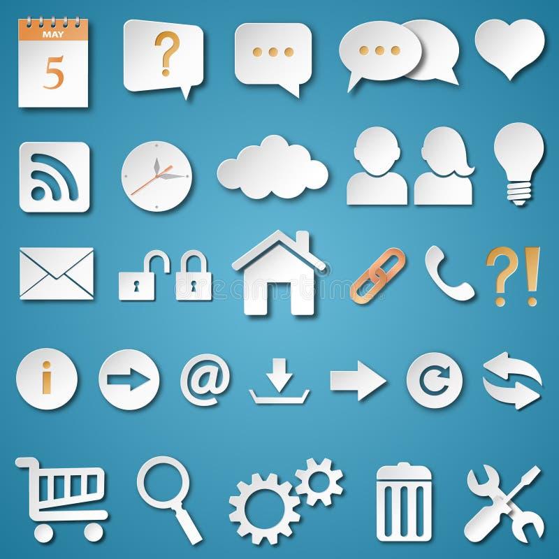 Icone universali di web messe illustrazione di stock
