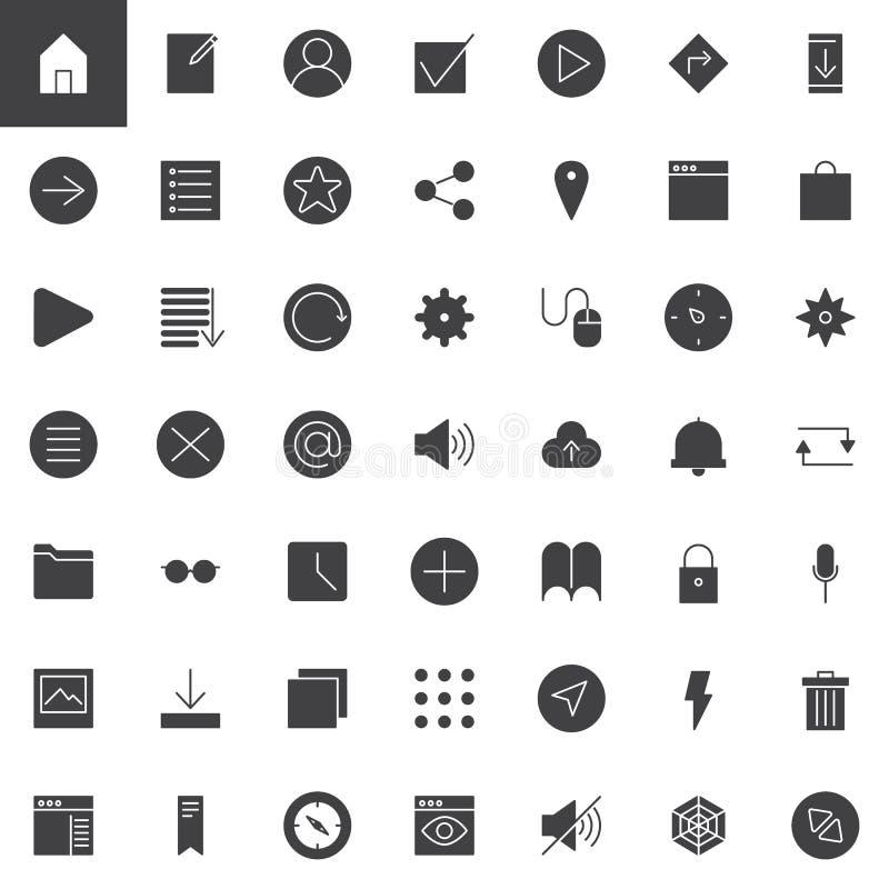 Icone universali semplici di vettore di web messe royalty illustrazione gratis