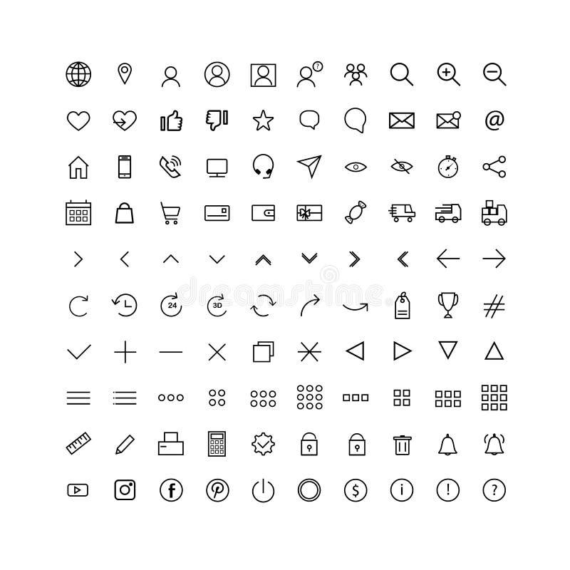 Icone universali stabilite per il web illustrazione di stock