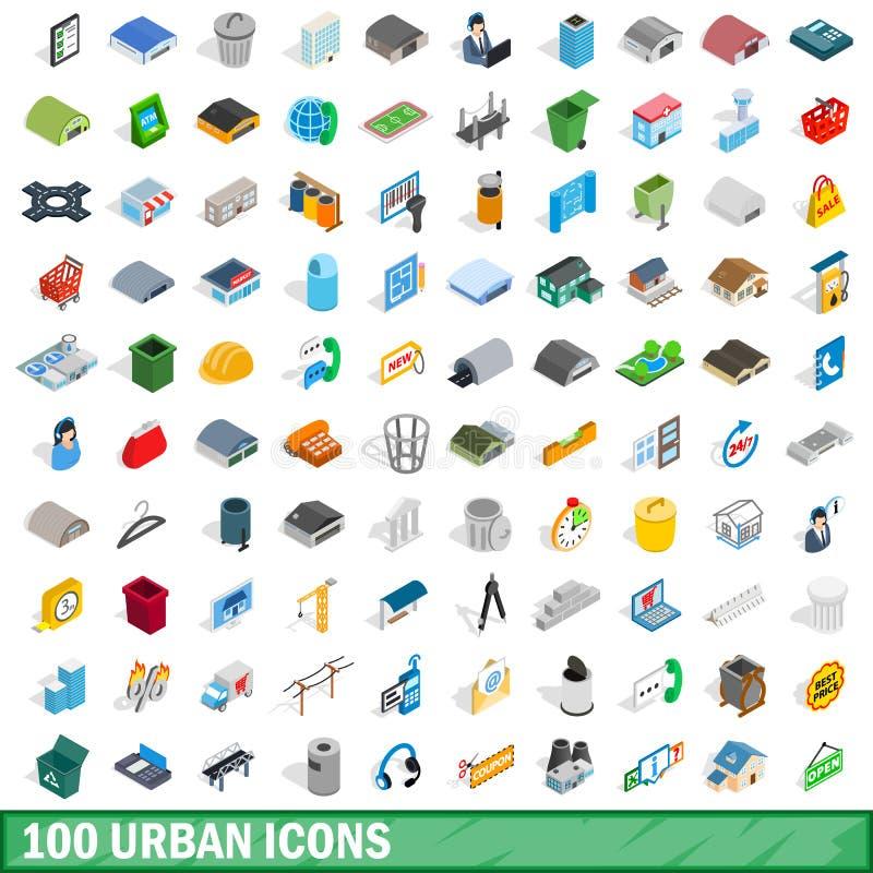 100 icone urbane messe, stile isometrico 3d illustrazione vettoriale