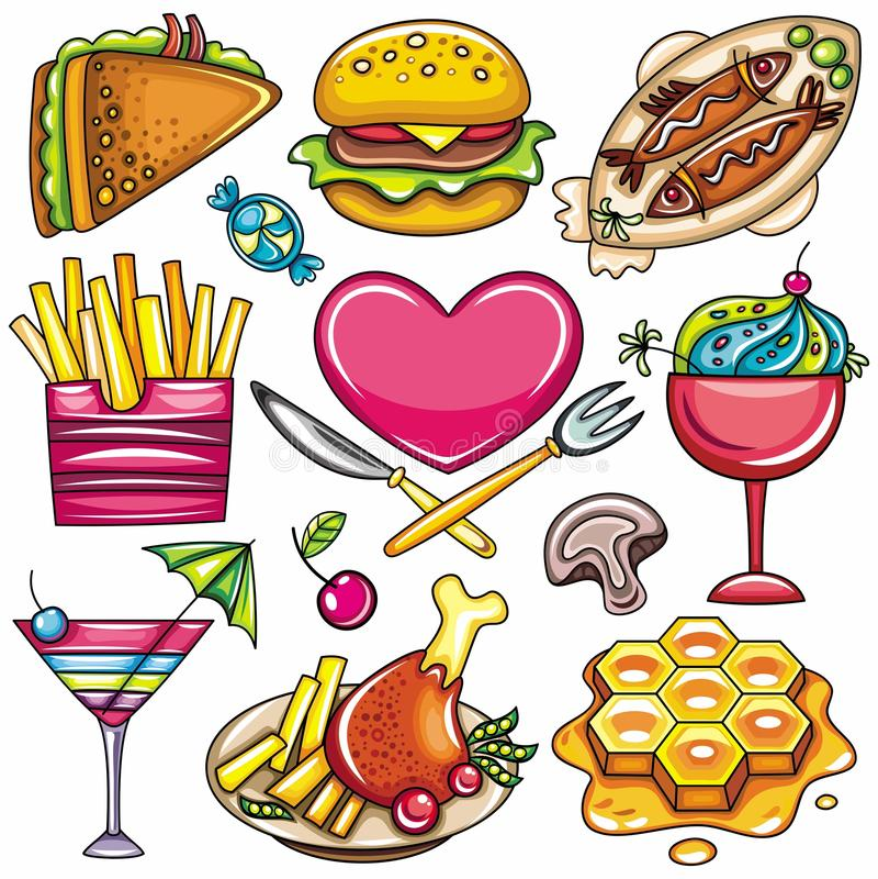 Icone variopinte 1 dell'alimento royalty illustrazione gratis