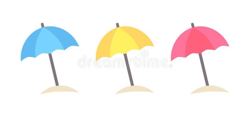 Icone variopinte degli ombrelloni illustrazione vettoriale
