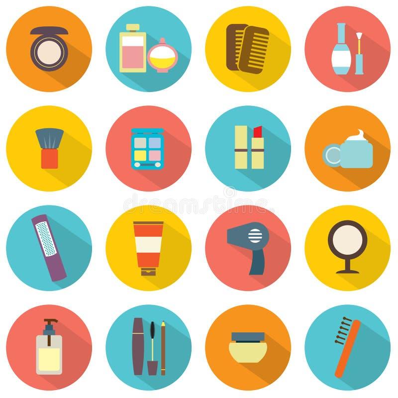 Icone variopinte dei cosmetici di progettazione piana illustrazione di stock