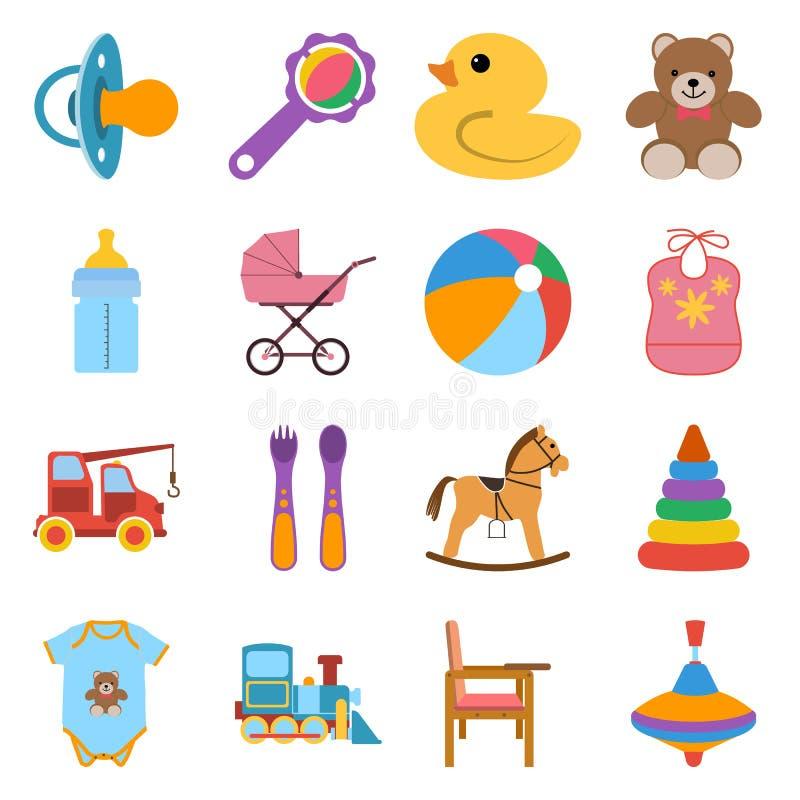 Icone variopinte del bambino messe illustrazione vettoriale