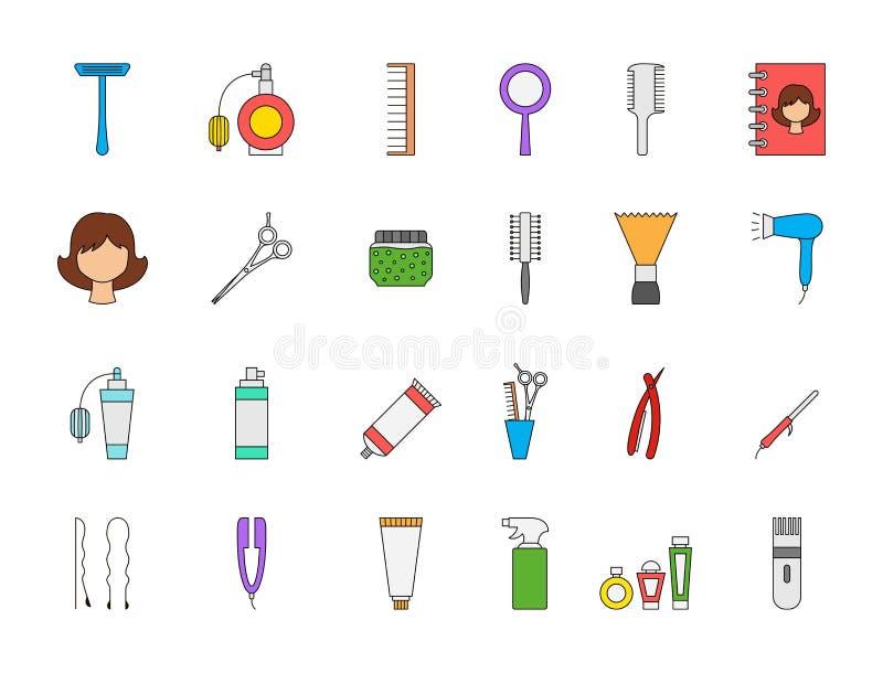 Icone variopinte del parrucchiere messe illustrazione vettoriale
