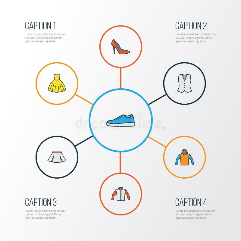 Icone variopinte del profilo dei vestiti messe Raccolta dei talloni, del vestito da sera, delle scarpe da tennis e di altri eleme illustrazione vettoriale