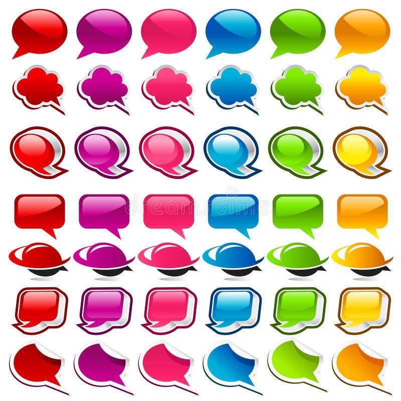 Icone variopinte della bolla di discorso illustrazione di stock