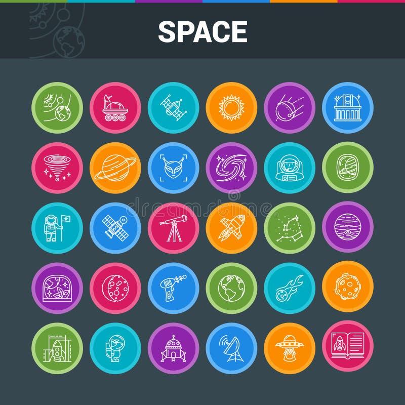Icone variopinte di esplorazione spaziale royalty illustrazione gratis