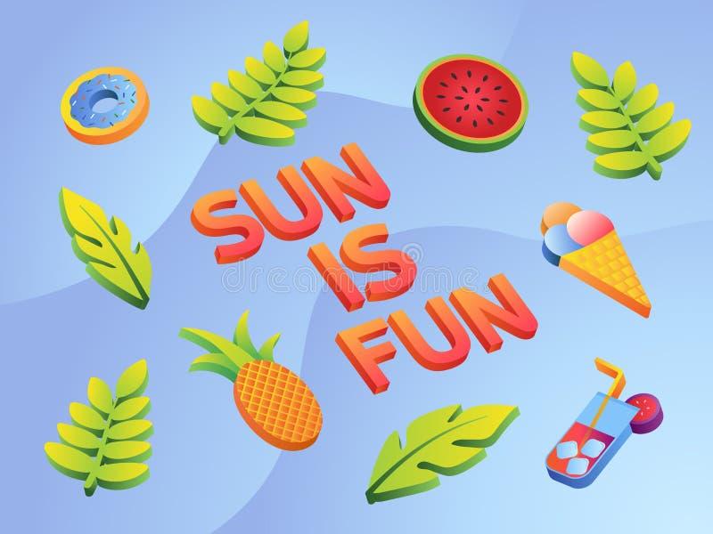 Icone variopinte di estate messe con le foglie, l'anguria, il cocktail, l'ananas e la ciambella illustrazione di stock