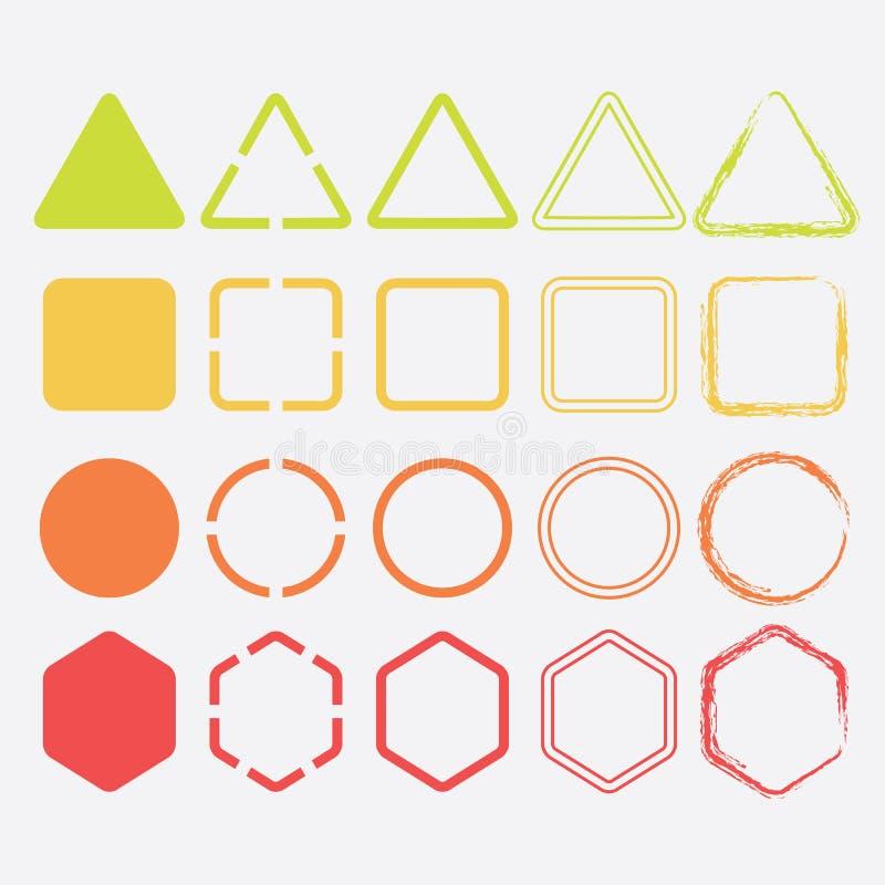Icone variopinte di forma nei colori e nelle progettazioni differenti illustrazione vettoriale