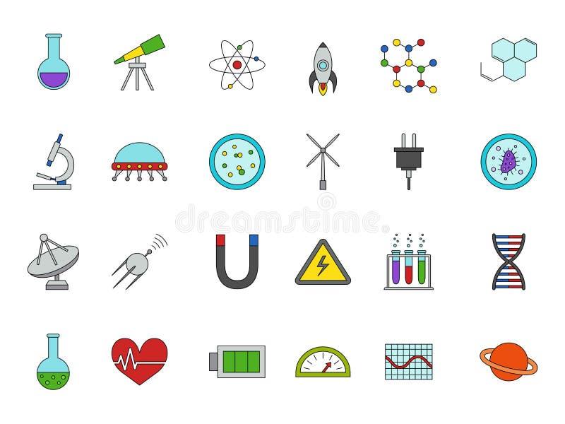 Icone variopinte di scienza messe illustrazione di stock