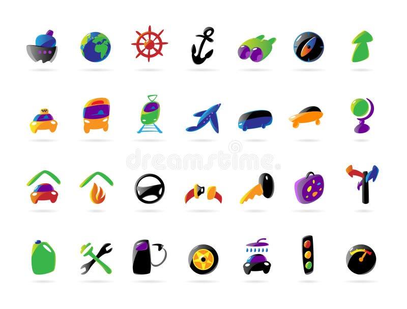Icone variopinte di servizi dell'automobile e di corsa illustrazione vettoriale