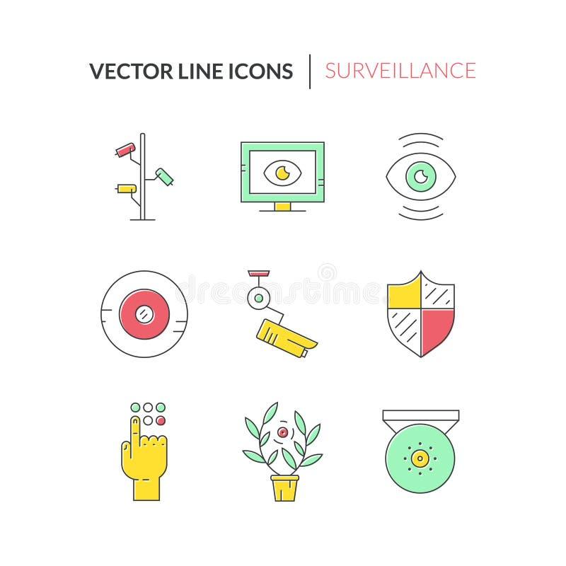 Icone variopinte di sorveglianza illustrazione di stock