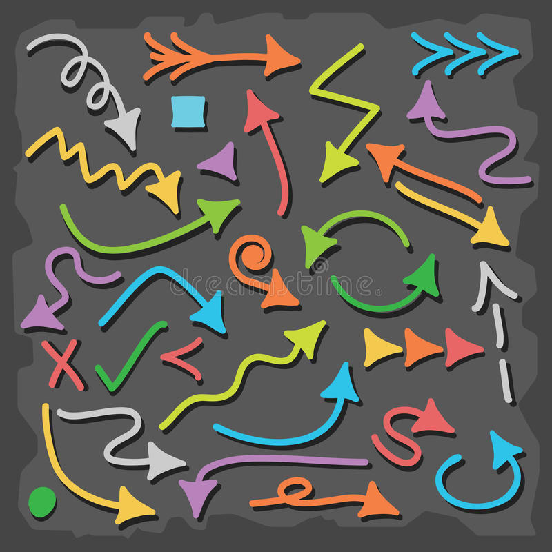 Icone variopinte disegnate a mano della freccia di direzione messe illustrazione di stock
