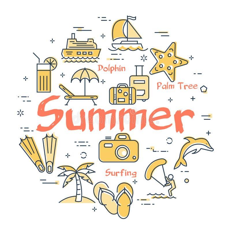 Icone variopinte nel tema di vacanze estive royalty illustrazione gratis