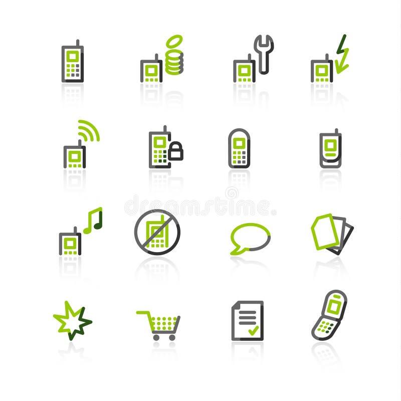 icone Verde-grige del telefono mobile illustrazione di stock