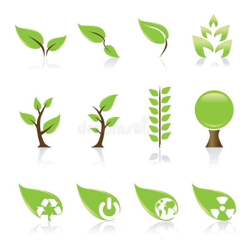 Icone verdi illustrazione vettoriale