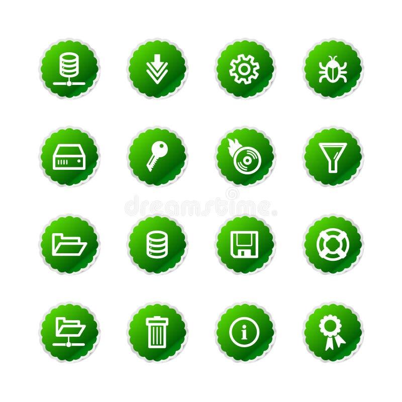 Icone verdi del server dell'autoadesivo royalty illustrazione gratis