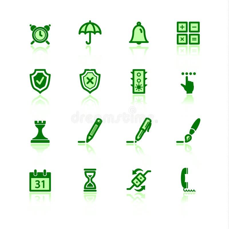 Icone verdi del software illustrazione di stock