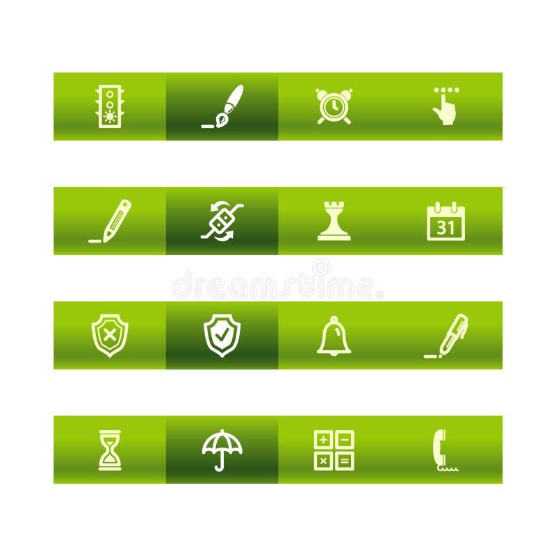 Icone verdi del software della barra illustrazione vettoriale