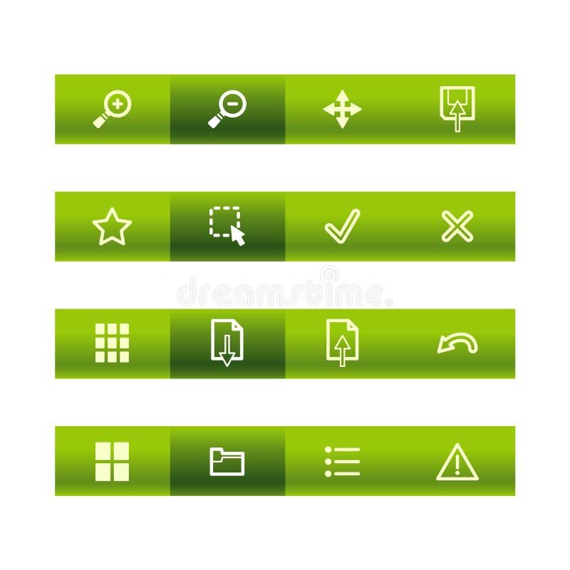 Icone verdi del visore della barra illustrazione di stock