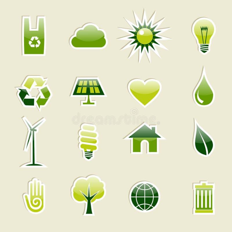 Icone verdi dell'ambiente impostate illustrazione di stock