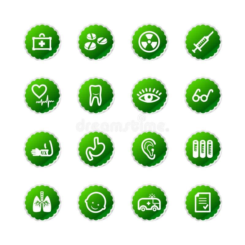 Icone verdi della medicina dell'autoadesivo royalty illustrazione gratis