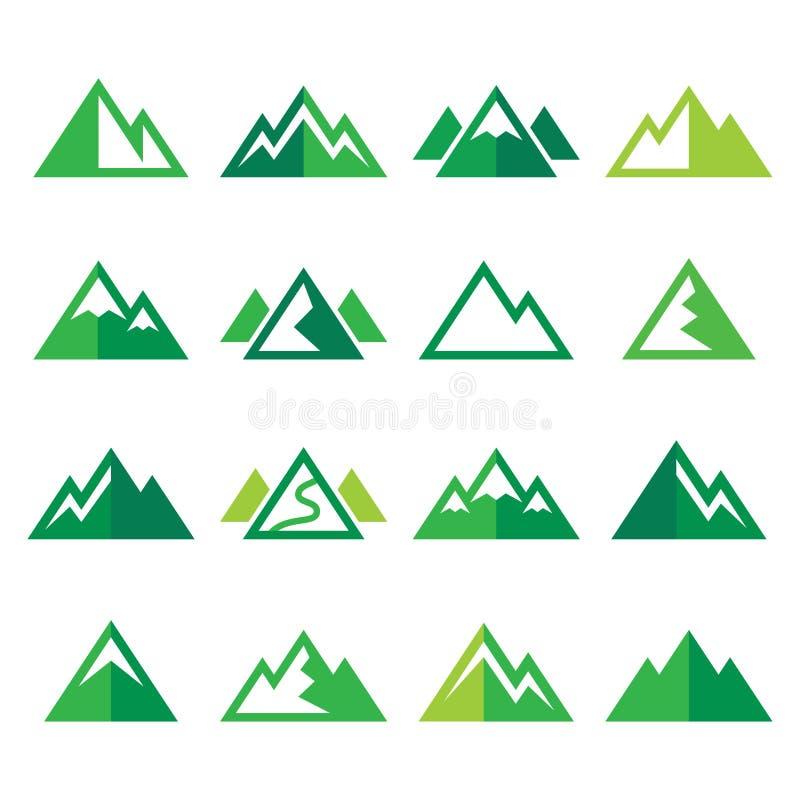 Icone verdi della montagna messe royalty illustrazione gratis