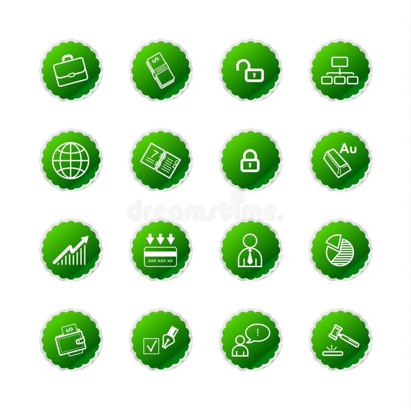 Icone verdi di affari dell'autoadesivo illustrazione vettoriale