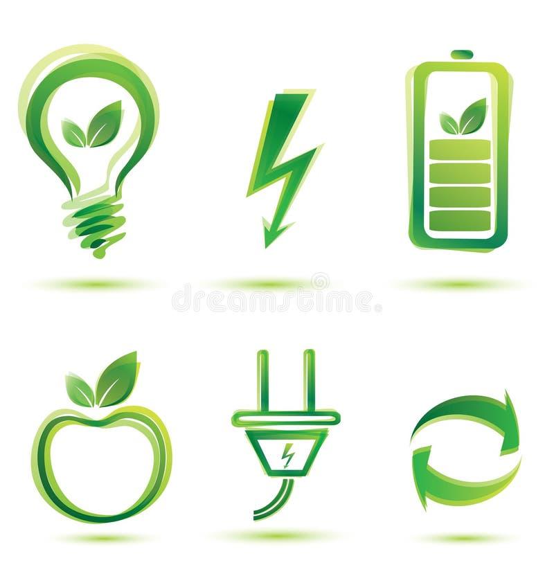 Icone verdi di energia illustrazione di stock