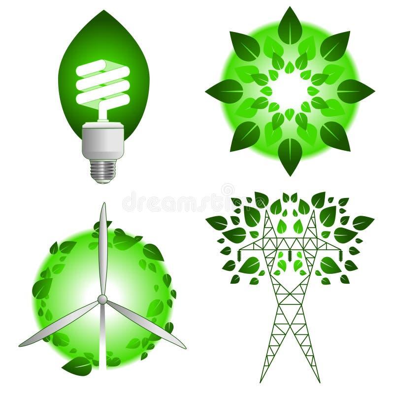 Icone verdi di energia illustrazione vettoriale