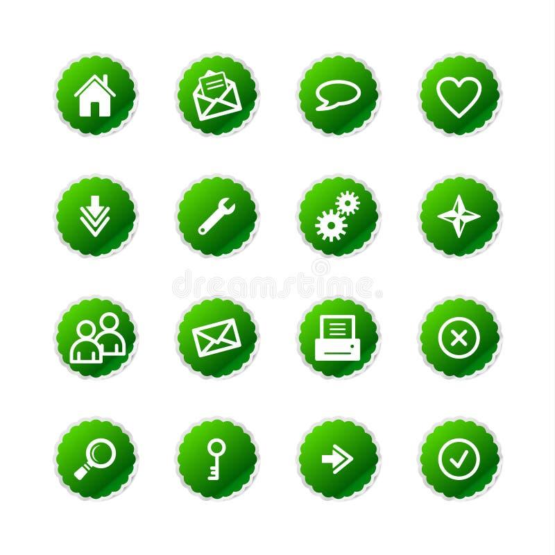Icone verdi di Web dell'autoadesivo illustrazione vettoriale