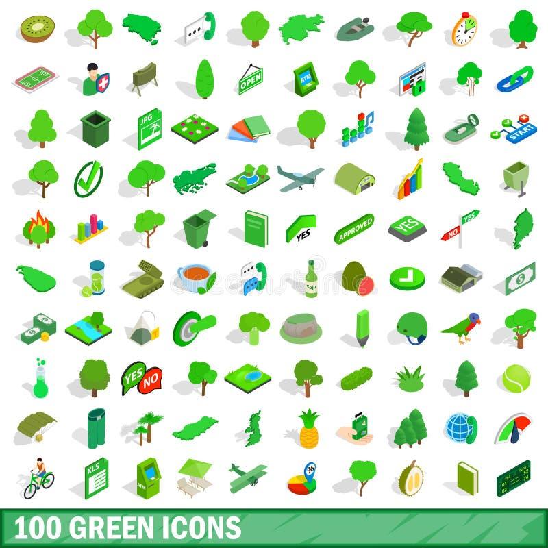 100 icone verdi messe, stile isometrico 3d illustrazione vettoriale