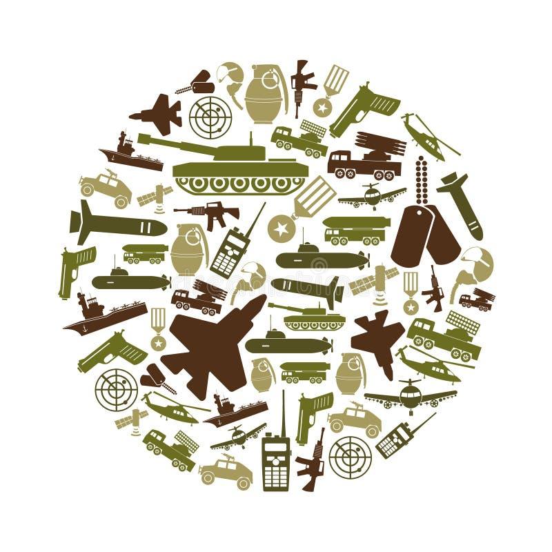 Icone verdi semplici di tema militare nel cerchio royalty illustrazione gratis