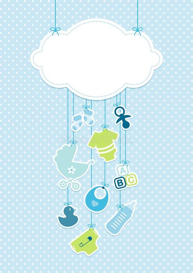 Icone verticali ragazzo del bambino della carta e fondo Dots Blue della nuvola illustrazione vettoriale