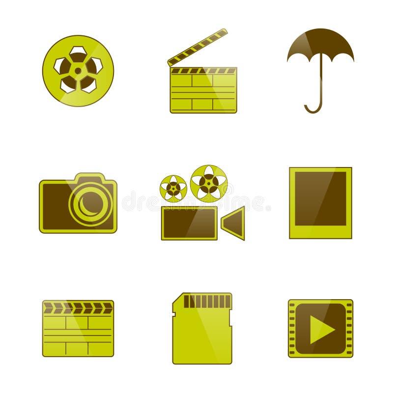 Icone video e contaminazione della foto, illustrazione di vettore royalty illustrazione gratis